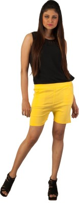 Berries Solid Women's Yellow Hotpants