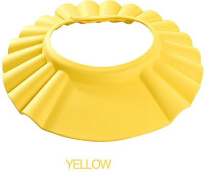 BURNN Adjustable Soft Shower Bathing Safe Cap for Baby, Children, Kids with Button Protect from Shampoo/Water–Yellow