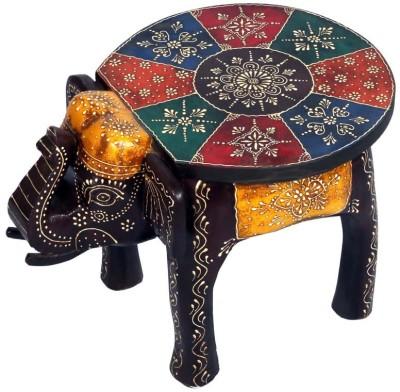 Surface 180 Wooden Multi Colour Elephant Style Stool Showpiece  -  30 cm