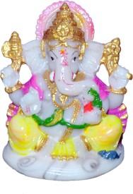 VAAH Ganesh Murti Marble Showpiece - 12 cm(Polyresin, Multicolor)