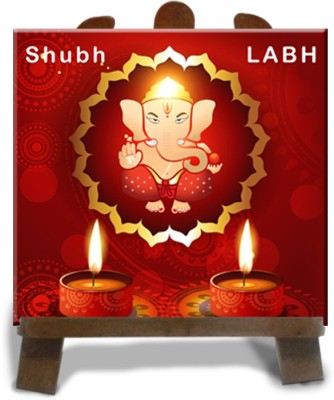 Tiedribbons Ganesh Idol Murti Showpiece  -  12 cm(Ceramic, Multicolor)