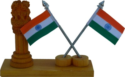 eCraftIndia Wooden Ashoka Pillar with 2 National Flags Showpiece  -  13.97 cm