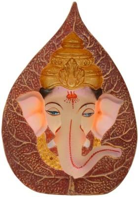 Kapasi Handicrafts Fiber Ganesha Face Carving in Peepal Leaf Showpiece  -  16.5 cm