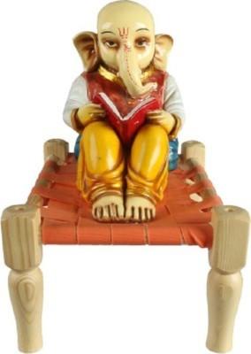 Shree Krishna Handicrafts And Gallery Ganesh Reading On Charpai With Books Showpiece  -  28 cm