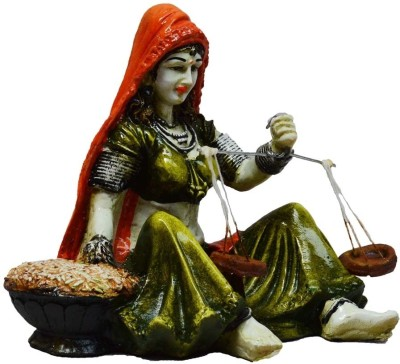 eCraftIndia Rajasthani Lady Statue with Weighing Scale Showpiece  -  12.7 cm(Microfibre, Orange, Green)
