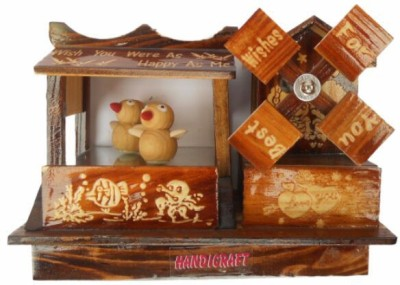 Handicrafts Penquin Wooden Made House Showpiece  -  13 cm