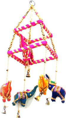 Nakkashee Handcrafted New Style Elephant Hanging For Decorative Special Showpiece  -  35 cm(Acrylic, Wool, Wooden, Cotton, Multicolor)