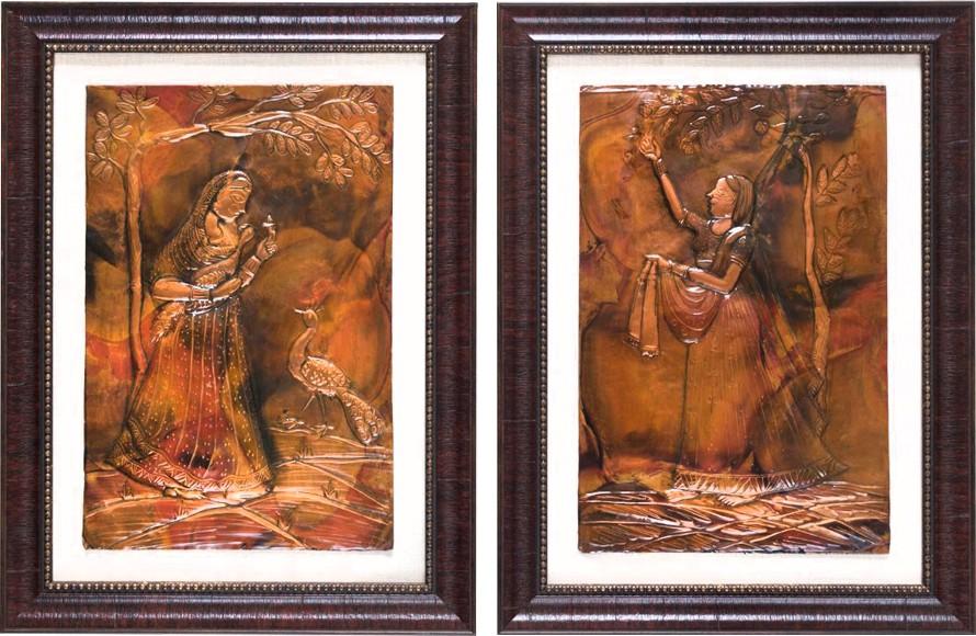 Aamori Showpiece  -  40.6 cm(Wooden, Copper)