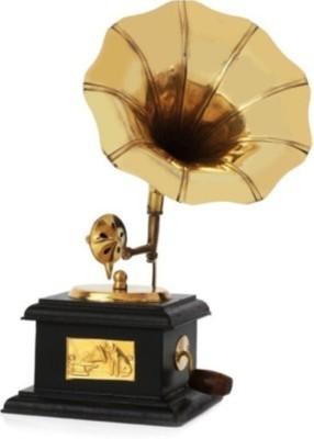 Gruvi Enterprises Gramophone Showpiece  -  24 cm(Brass, Gold)