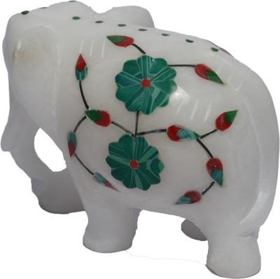 Artist Haat Makrana Marble Inlay Elephant Showpiece  -  8 cm