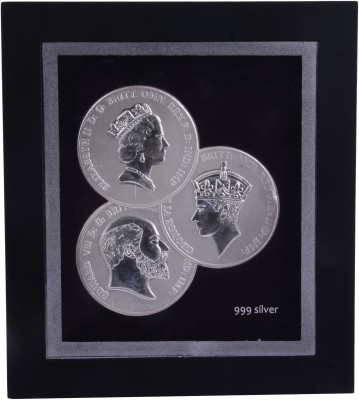 Siri Creations 999 Pure Silver Queen And King Acralyic Frame Showpiece  -  15 cm