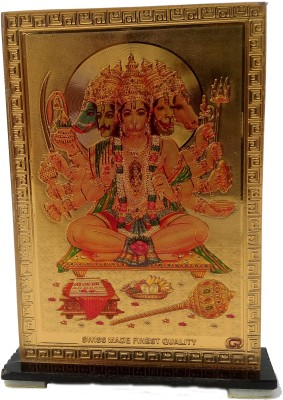 Divyas Gold Plated Lord Panchmukhi Hanuman Showpiece  -  9 cm