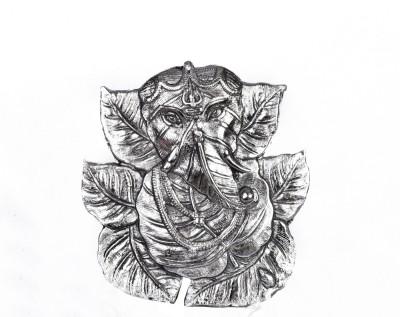 EtsiBitsi White Metal Ganesh of Peepal Leaf EB_WH_001 Showpiece  -  21 cm
