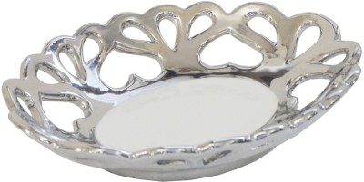 Ambience Interior Mall Chrome Plate Dish. Showpiece  -  5 cm(Porcelain, Silver)