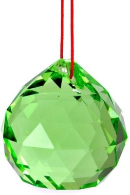 Shubh Store Fengshui Hanging Green Crystal Ball 40mm Sphere Prism Faceted Sun Catcher Showpiece - 6 cm
