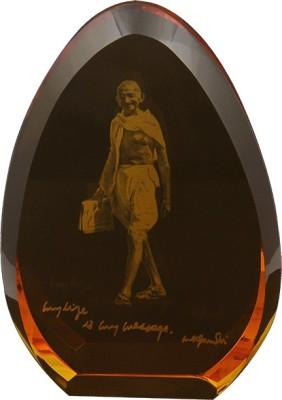 Eternal Gandhi Oval Shaped Golden Showpiece  -  10 cm