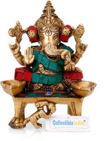 Collectible India Brass Ganesha Idol Hindu God Ganesh Diwali Puja Murti Spiritual Diya Home Decor Showpiece  -  15.24 cm(Brass, Multicolor)
