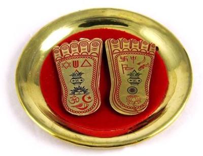 Vastughar Brass Shree Ma Laxmi Charan Paduka ( 4.5 Inches ) On A Plate For Prosperity Showpiece  -  1 cm