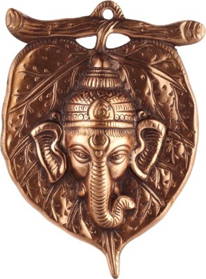 Sri Alankar Black Metal Ganesh Ji face Idol on Leaf Showpiece  -  22 cm