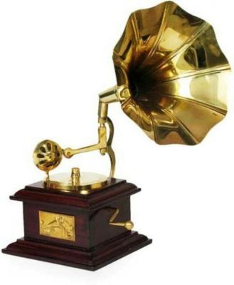 Handicrafts GRAMOPHONE Showpiece  -  24 cm(Brass, Brown)
