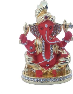 Divyas Gold Plated Pagdi ganesh (Red) Showpiece  -  7 cm