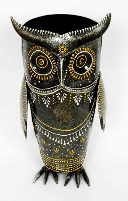 KHUSHI HANDICRAFTS IRON OWL PEN STAND Showpiece  -  25 cm