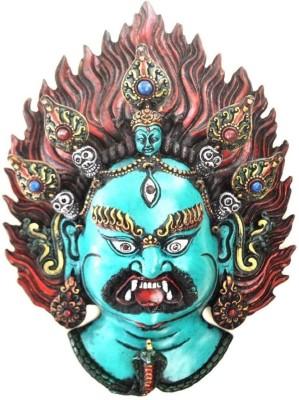 Collectible India Large Mahakala - Tibeten Wall Sculpture - Antique Finish Bhairav Shiva Hanging Mask Showpiece  -  33 cm