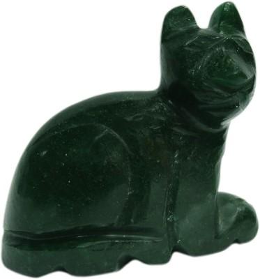 SS Murti Handmade Showpieces Green Aventurine Stone Figurine Cat 5 Cm Showpiece  -  5.1 cm(Stoneware, Green)