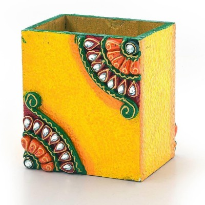 Mahadev Handicrafts 1 Compartments Wooden Pen Stand