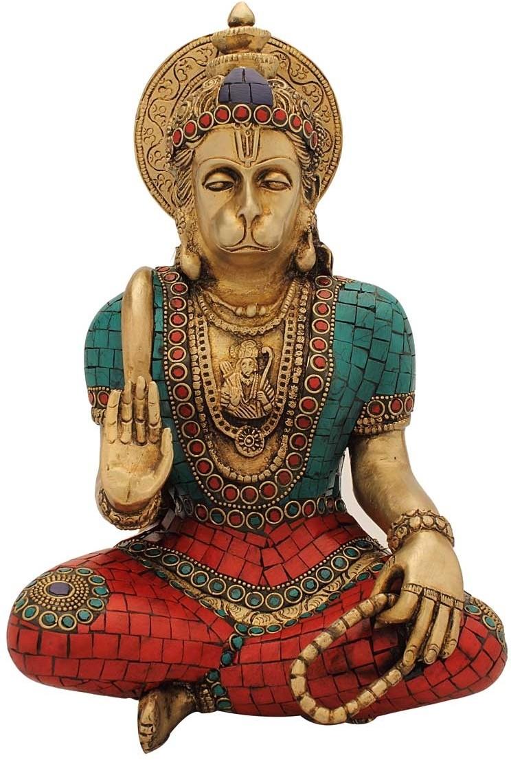 StatueStudio Hanuman Stone Showpiece  -  27.94 cm(Brass, Multicolor)