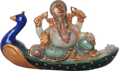 Rajasthali Arts Ganesh on Peacock Showpiece  -  5 cm