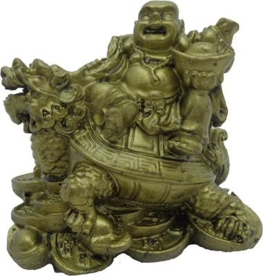 True Deal Laughing Buddha Sitting on Dragon Tortoise Showpiece  -  7.5 cm