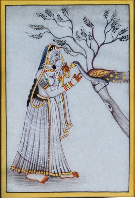 eCraftIndia Marble Ragini Painting with Peocock Showpiece  -(Stoneware, Multicolor)