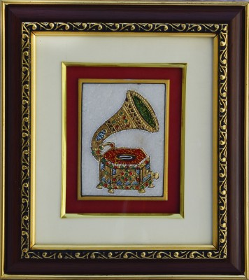 eCraftIndia Marble Painting of Classical Horn Phonograph/Turntable Showpiece  -  1.27 cm(Stoneware, Multicolor)