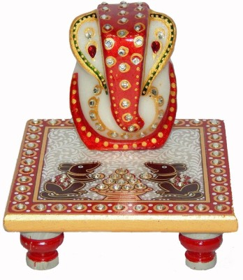 Chave White Marble Ganesh Chowki Showpiece  -  10.16 cm