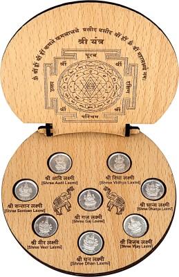 Siri Creations Silver Astha Laksmi Coins with sthri Yantra Showpiece  -  2.5 cm
