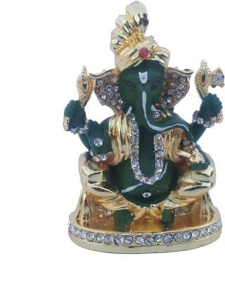 Divyas Gold Plated Pagdi Ganesha (Green) Showpiece  -  7 cm