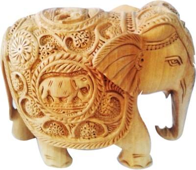 Decor Tattva Inc. Kadam Wood Carved Elephant - Medium Showpiece  -  10 cm