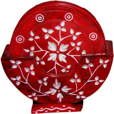 Incredible Culture Red Marble Tea Coster For Home Use Showpiece  -  10 cm