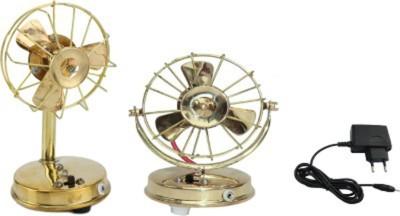 Glori-fyi Brass Antique Handcrafted Fans-Pair Showpiece  -  18 cm