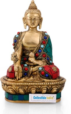 Collectible India Brass Medicine Buddha Idol Handmade Buddhism Shakyamuni Lotus Sitting Statue Sculpture Showpiece - 17.78 cm(Brass, Multicolor)