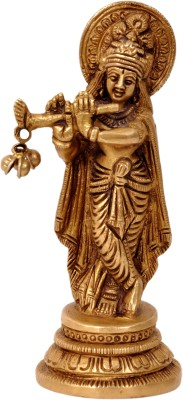 Aesthetic Decors Krishna Standing On Round Base Showpiece  -  12 cm(Brass, Gold)