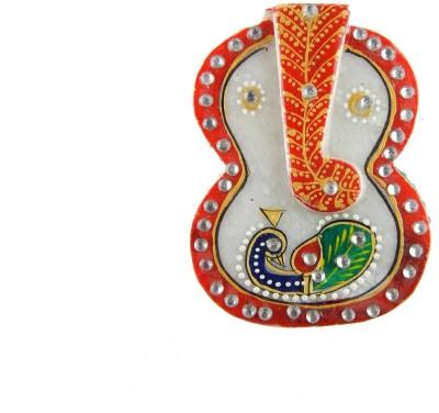 Chave Marble Ganesh Roli Sindoor Vase with kundan work ( Marble Chopra ) Showpiece  -  2 cm
