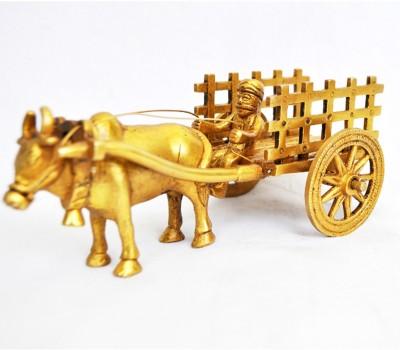 Aakrati Handicrafted Bull Cart Statue Made Showpiece - 7 cm