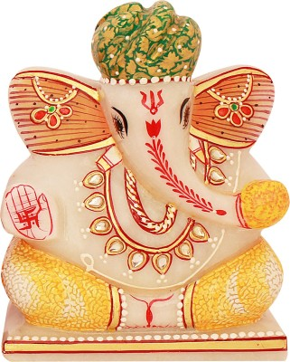 Snowfinch Multicolour Turban Marble Ganesha Showpiece  -  13 cm
