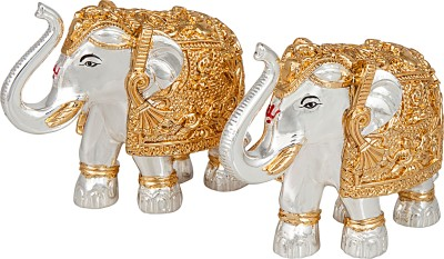 Siri Creations Silver Foil Elephants with Gold Touch Showpiece  -  7.5 cm