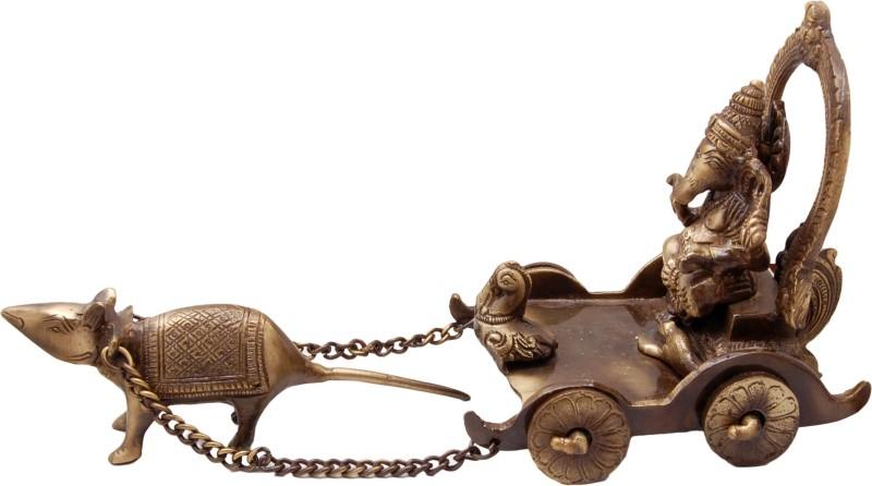 Handecor Ganesh Savari Antique Showpiece - 13.75 cm(Brass, Brown)