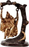 Keshavaay Radha Krishna Swing on Tree in Bown Gold Showpiece  -  16.5 cm(Brass, Multicolor)