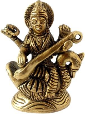 Divine Temples Goddess Saraswati Showpiece  -  8 cm(Brass, Gold)