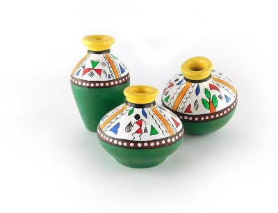 Chave Set of 3 Terracotta Warli Handmade Pot Set - Yellow and Green Base Colour - Indian Art Showpiece  -  7 cm